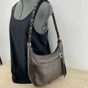Brighton Barbados Hobo Shoulder Bag Pewter
